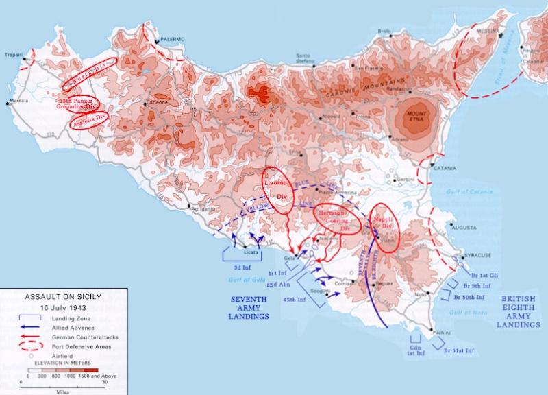 Disposición de las tropas italianas y alemanas en la isla antes de la Invasión