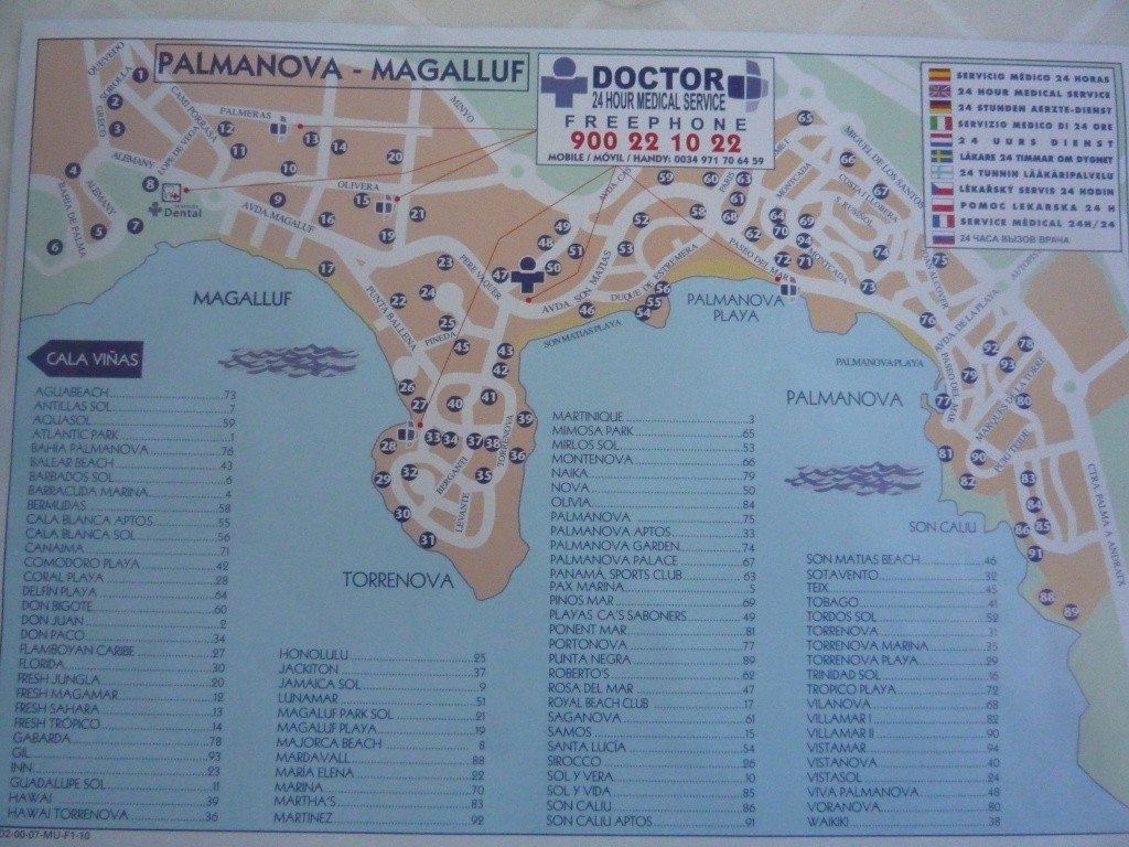 Map of most Hotels in Magaluf Palma Nova for 2011 meet up