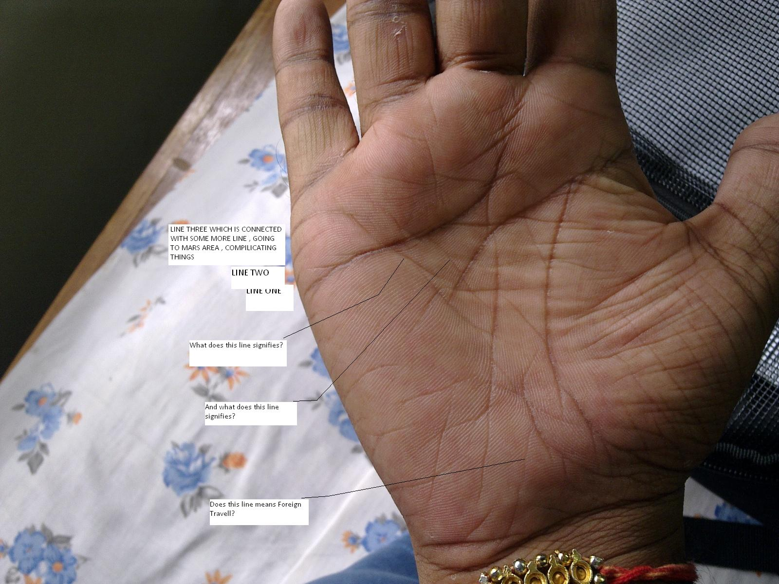 two relationship lines on palm